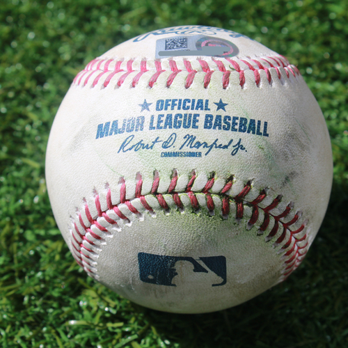 Photo of Game-Used Baseball: Domingo Santana 318th Career Hit (SEA @ KC - 4/8/19)