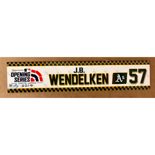 Photo of 2019 Japan Opening Day Series - Game Used Locker Tag - J.B. Wendelken -  Oakland Athletics