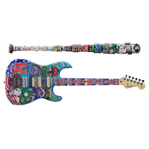 One-of-a-kind Artist-Painted Mets Louisville Slugger Bat and Fender Stratocaster Guitar