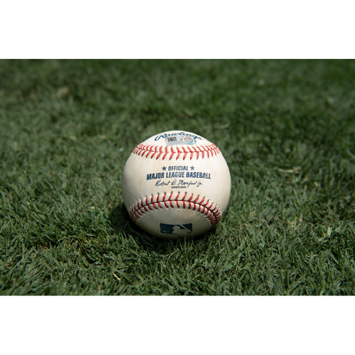 Photo of Game Used Baseball: Pitcher: Brandon Workman, Batter: Justin Upton - Single - Bot 8 - 8-30-2019 vs. BOS