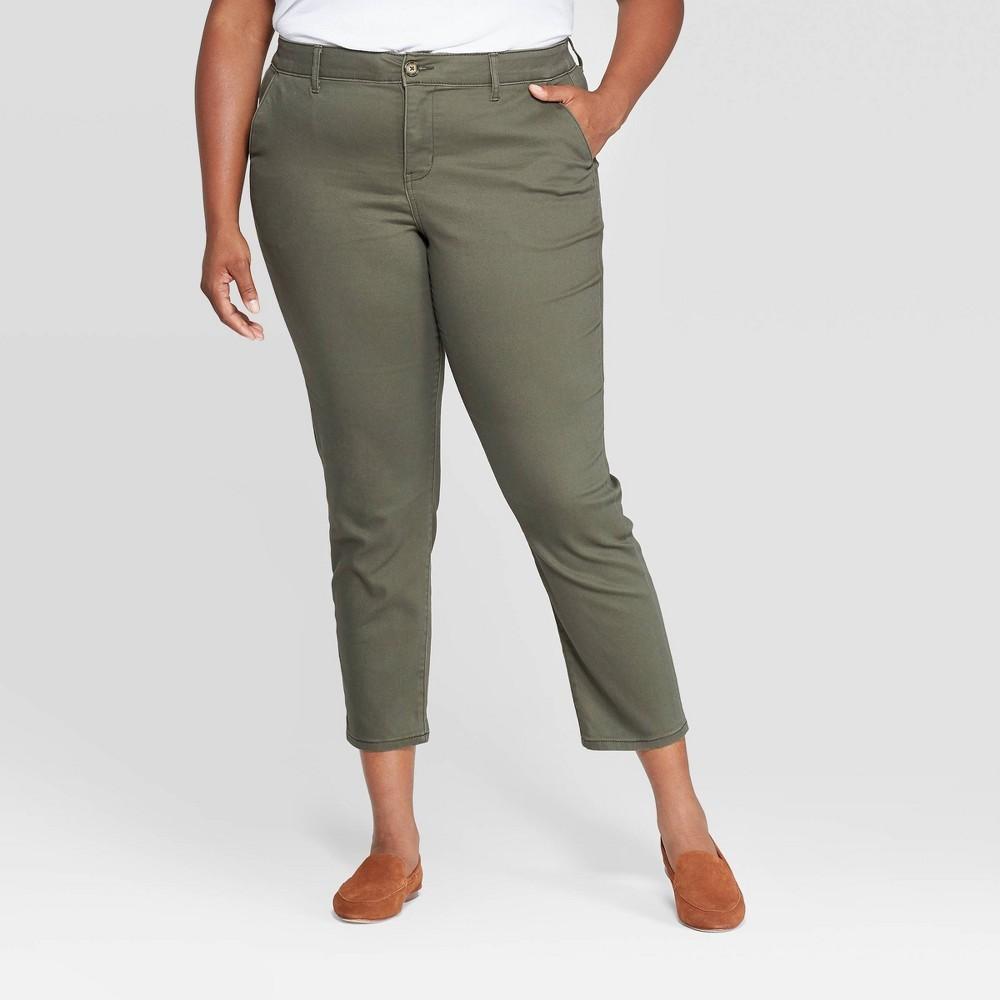Photo of Women's Plus Size Slim Fit Chino Pants - Ava & Viv
