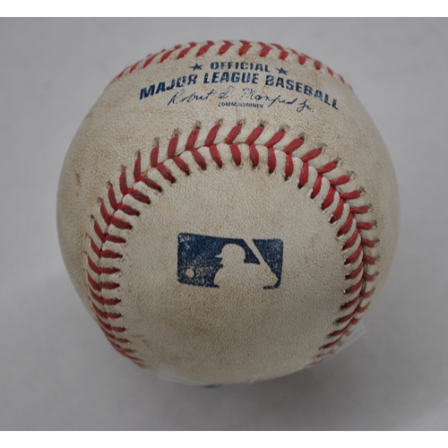 Photo of Game-Used Baseball - 2020 NLCS - Atlanta Braves vs. Los Angeles Dodgers - Game 6 - Pitcher: Blake Treinen, Batters: Freddie Freeman (Strikeout Swinging), Marcell Ozuna (Pitch in Dirt) - Top 7