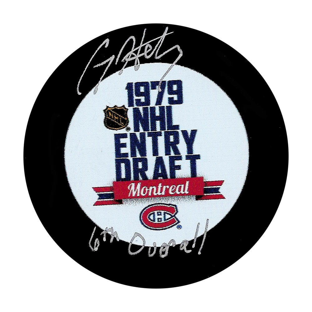 Craig Hartsburg Autographed 1979 NHL Entry Draft Puck w/6TH OVERALL Inscription