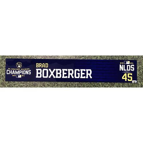 Photo of Brad Boxberger 2021 Game-Used NLDS Locker Nameplate