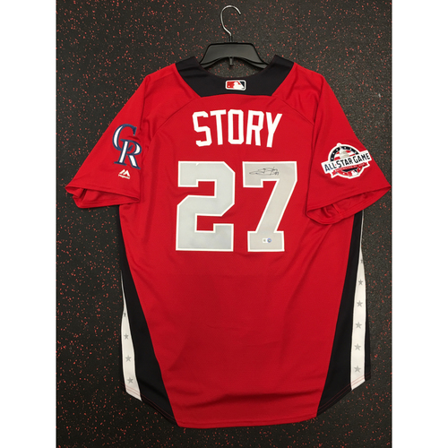 Photo of Trevor Story 2018 Major League Baseball Workout Day Autographed Jersey