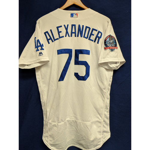Photo of Scott Alexander Game-Used Home Jersey from Regular Season Tie Breaker Game - COL vs LAD - 10/1/18