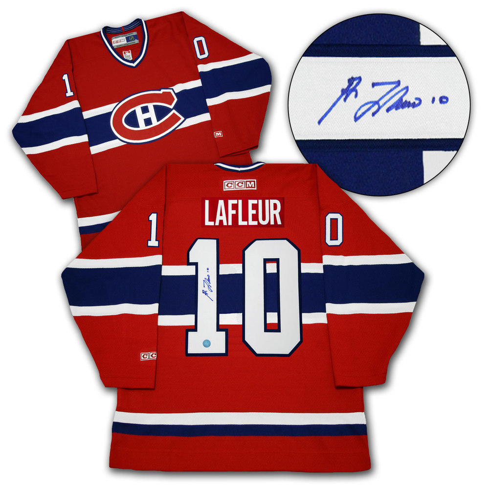 Guy LaFleur Montreal Canadiens Autographed CCM Vintage Hockey Jersey - Size Medium