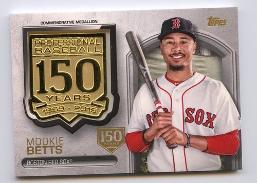 Photo of 2019 Topps 150th Anniversary Manufactured Medallions 150th Anniversary Mookie Betts 59/150