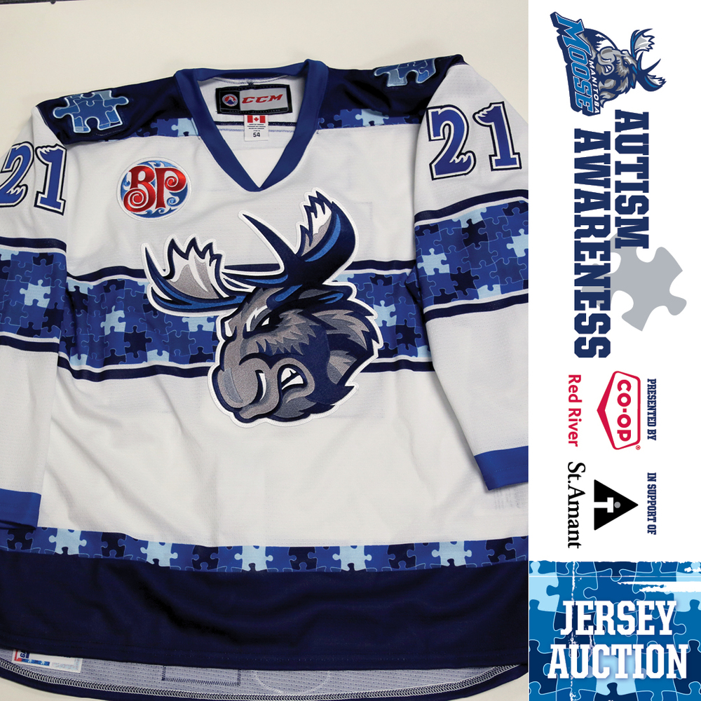 EMILE POIRIER Manitoba Moose Game Issued Autism Awareness Jersey
