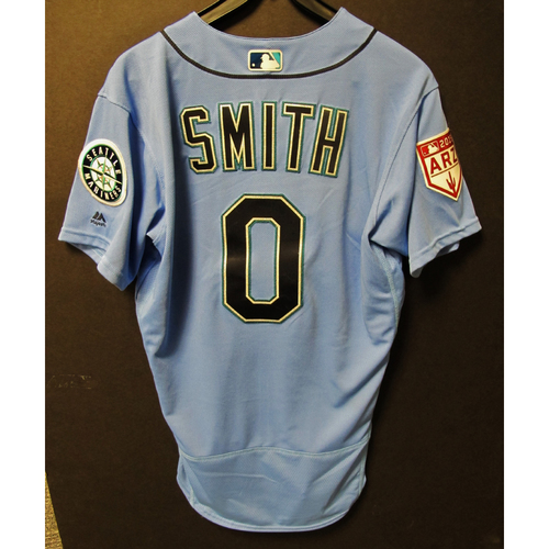 Photo of Mallex Smith Game Used Light Blue Spring Training Jersey 2019  Exhibition Game - SD @ SEA 3-26-2019