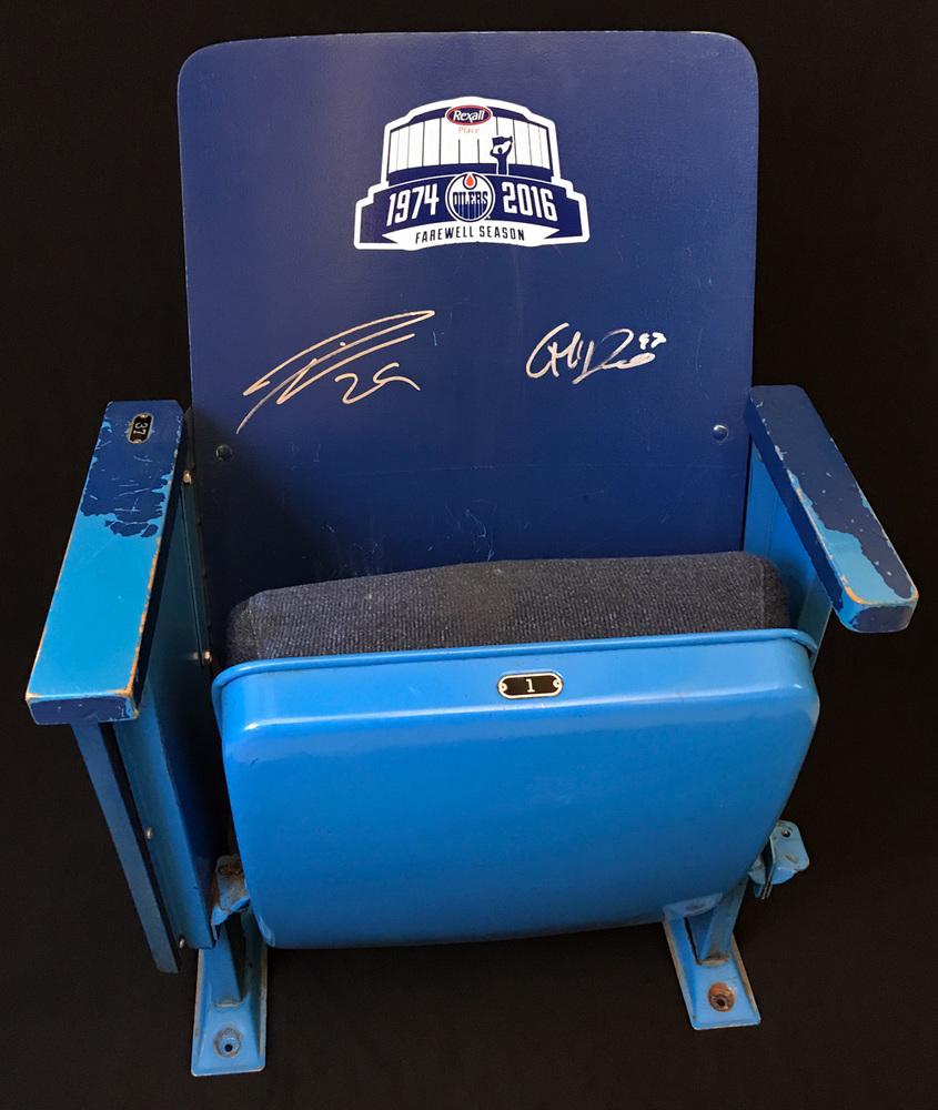 Leon Draisaitl & Connor McDavid Autographed Original Edmonton Coliseum Upper Bowl Seat