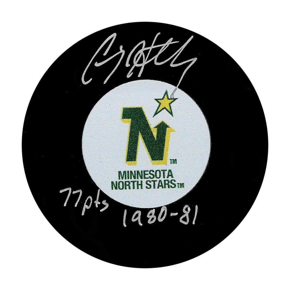 Craig Hartsburg Autographed Minnesota North Stars Puck w/77 PTS 1980-81 Inscription
