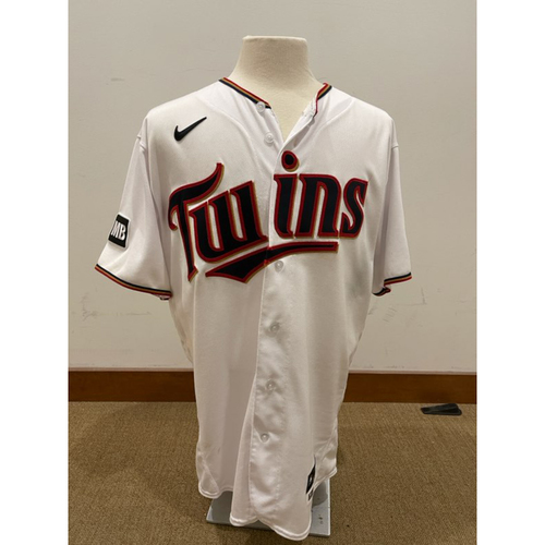 Photo of Minnesota Twins: 2021 Game-Used jersey - Kenta Maeda Worn - LAA at MIN - 7/22/2021 vs LAA; Pitched 7 innings with 6 Strikeouts including Striking out Shohei Ohtani Twice