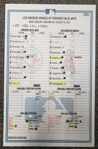 Photo of Authenticated Game Used Lineup Card: Aug 10, 2021 vs LAA - Ohtani was 0-for-3 with 1 SB and 1 Run. Home Game played in Anaheim. Game 1 of Doubleheader.