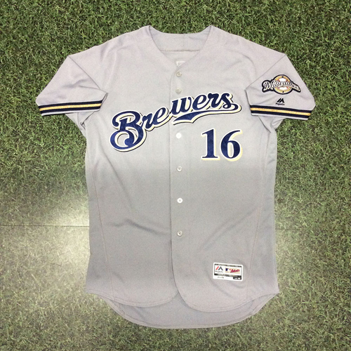 Photo of Domingo Santana 09/30/17 Game-Used Road Grey Jersey - 30th HR Game (1st 30-HR Season)