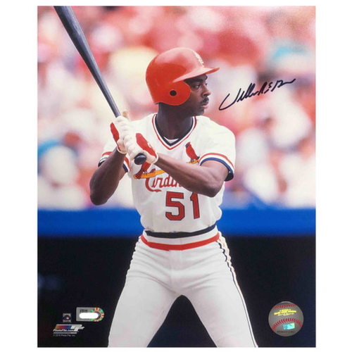 Photo of Cardinals Authentics: Willie McGee Batting Autographed 8 x 10 Photo