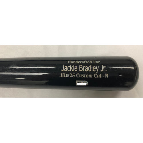 Photo of Jackie Bradley Jr March 30, 2018 Game-Used Cracked Bat