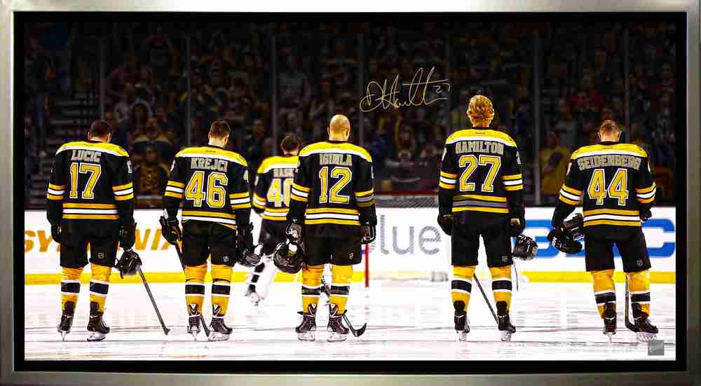Hamilton,D Signed 14x28 Canvas Framed Bruins Anthem