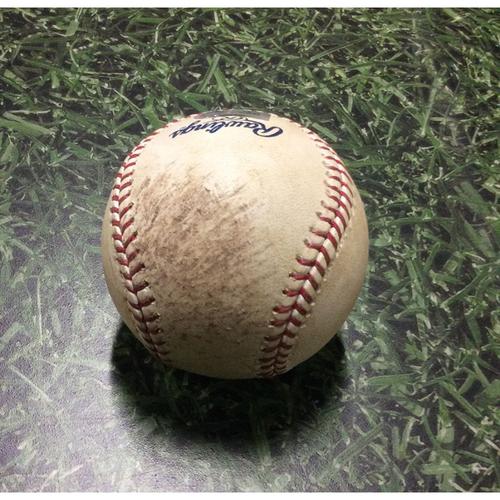 Photo of Game-Used Baseball LAD@MIL 08/16/11 - Yovani Gallardo - Juan Rivera: Foul