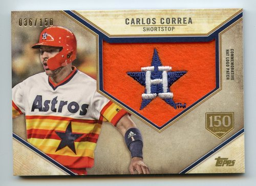 Photo of 2019 Topps Commemorative Retro Hat Logos 150th Anniversary Carlos Correa 36/150