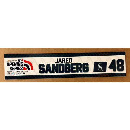 Photo of 2019 Japan Opening Day Series - Game Used Locker Tag - Jared Sandberg -  Seattle Mariners