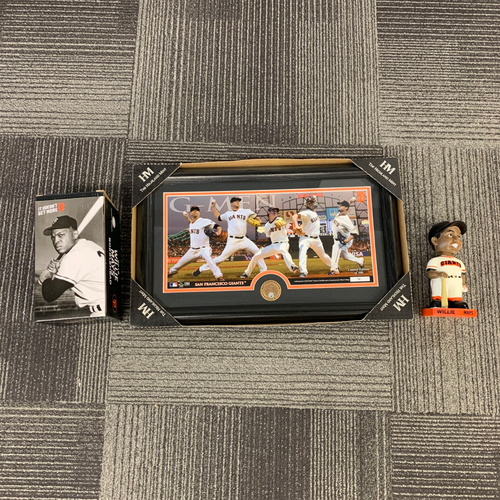 Photo of San Francisco Giants World Series Champions Pitchers Frame & 2019 Willie Mays Bobblehead