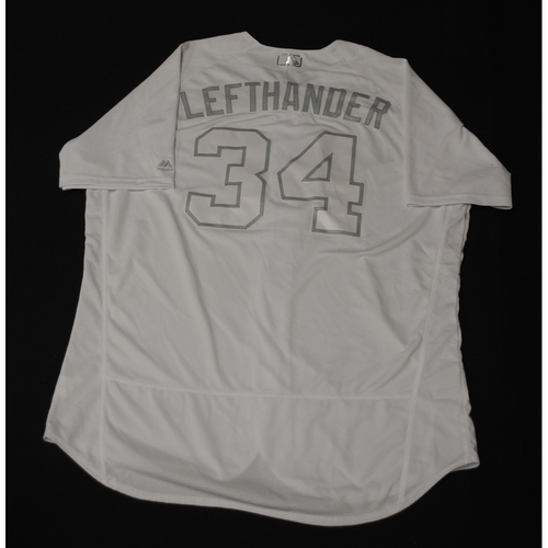 """Photo of Jon """"LEFTHANDER"""" Lester Chicago Cubs Game-Used 2019 Players' Weekend Jersey"""