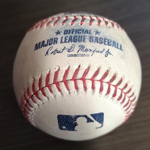 Photo of Authenticated Game Used Baseball: Strikeout by Framber Valdez against Derek Fisher (Aug 31, 19 vs HOU). Botom 6.