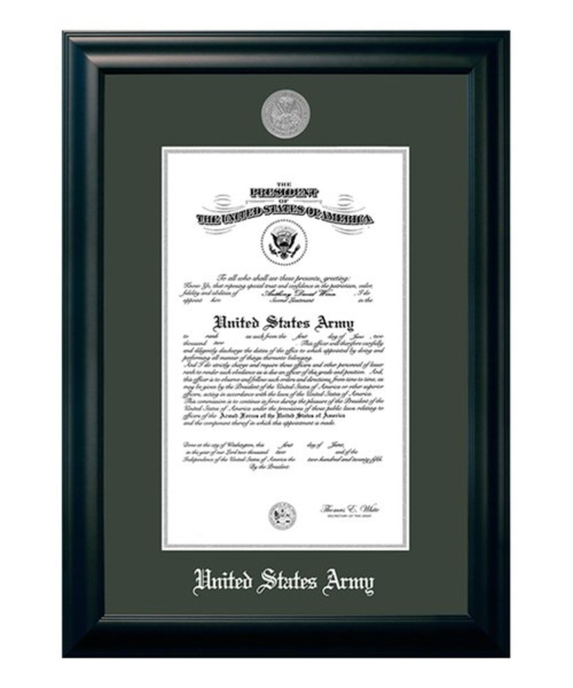 Photo of 10'' x 14'' Satin Black & Silver 'Army' Certificate Frame