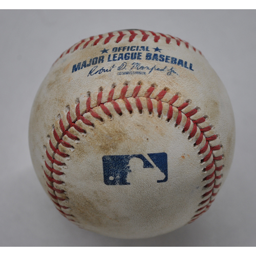 Photo of Game-Used Baseball - 2020 NLDS - San Diego Padres vs. Los Angeles Dodgers - Game 1 - Pitcher: Mike Clevinger, Batters: Justin Turner (Strikeout Swinging), Max Muncy (Ball in Dirt) - Bot 1