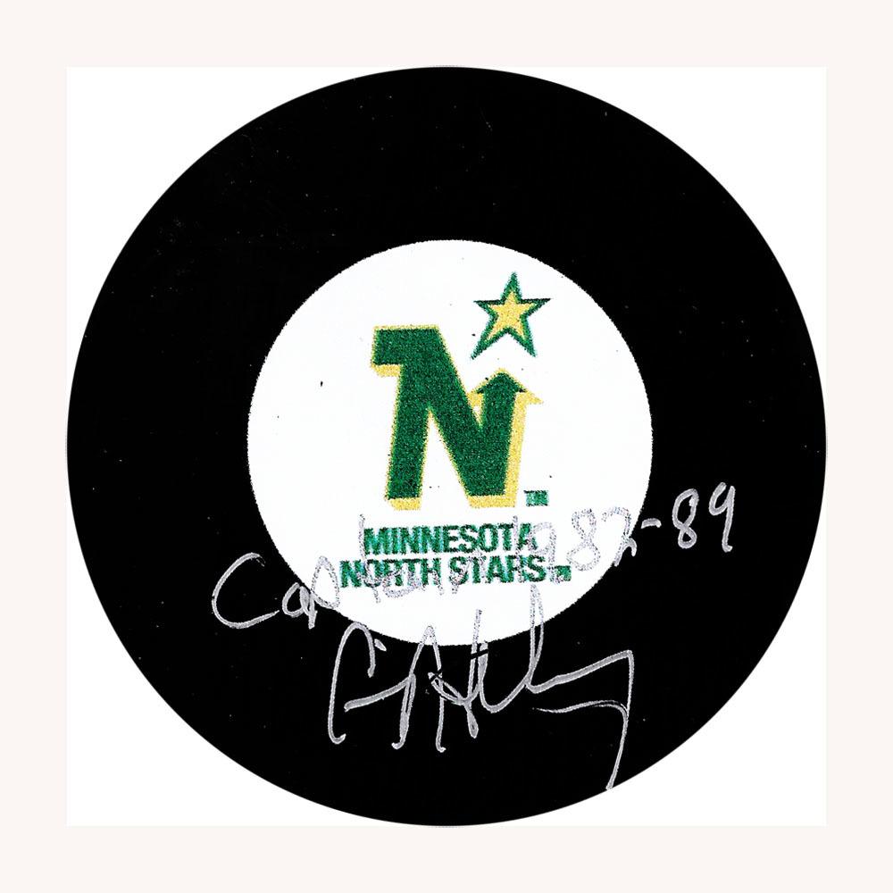 Craig Hartsburg Autographed Minnesota North Stars Puck w/CAPTAIN 1982-89 Inscription