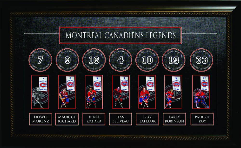 Montreal Canadiens - Framed All Time Greats Banner -  Howie Morenz, Maurice Richard, Henri Richard, Jean Beliveau, Guy Lafleur, Larry Robinson, & Patrick Roy