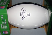 PATRIOTS - CHRIS BAKER SIGNED PANEL BALL W/ PATRIOTS BLUE PANEL LOGO