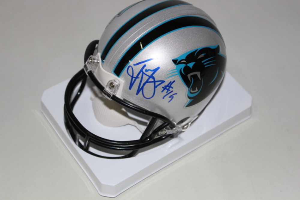 PANTHERS - TED GINN JR. SIGNED PANTHERS MINI HELMET