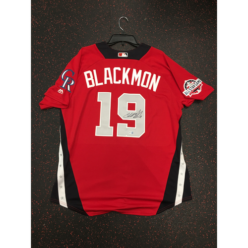 Photo of Charlie Blackmon 2018 Major League Baseball Workout Day Autographed Jersey