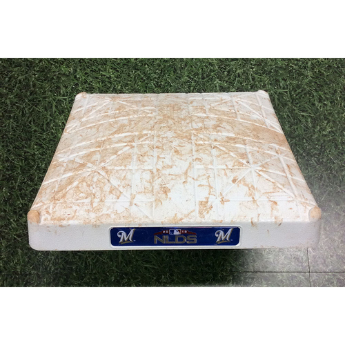 Photo of Game-Used 2nd Base COL@MIL NLDS Game 1 (10/04/18) - Innings 7-10 - Mike Moustakas Walk-Off RBI Single (2nd Walk-Off Postseason Victory in Franchise History)