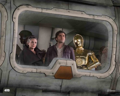 General Leia Organa, Poe Dameron, and C-3PO