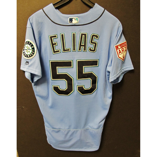 Photo of Roenis Elias Game Used Light Blue Spring Training Jersey 2019  Exhibition Game - SD @ SEA 3-26-2019