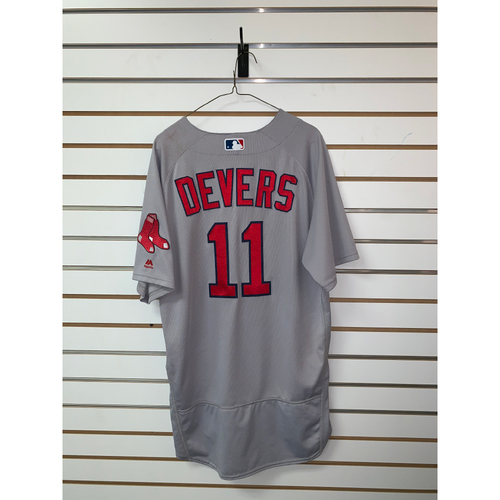 Photo of Rafael Devers Game Used April 18, 2018 Road Jersey - Home Run, 4 RBIs