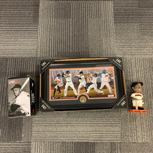 Photo of San Francisco Giants World Series Champions Hitters Frame & 2019 Willie Mays Bobblehead