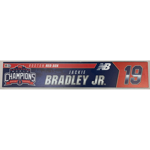 Photo of Jackie Bradley Jr Game Used June 9, 2019 Locker Tag