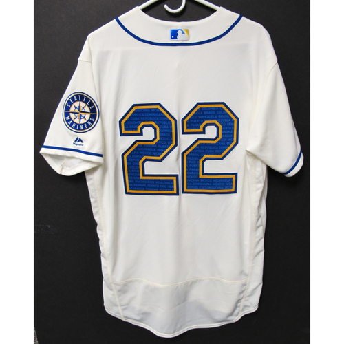 Photo of Seattle Mariners Omar Narvaez Game-Used Marineros Jersey (Salute to Latin American) 9-15-2019