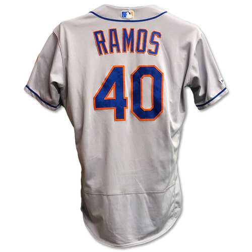 Photo of Wilson Ramos #40 - Game Used Road Grey Jersey - Mets vs. Reds - 9/20/19