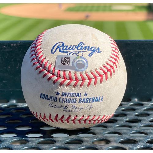 Photo of Colorado Rockies Game-Used Baseball- Pitcher: Sam Coonrod, Batter: Charlie Blackmon (RBI Double to Mauricio Dubon. Trevor Story Scores.) September 2, 2020 vs. San Francisco Giants.