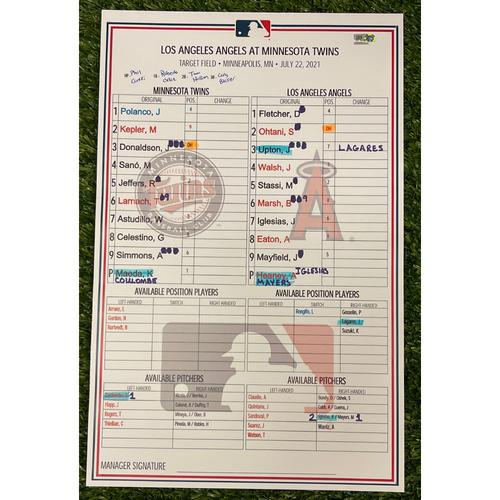 Photo of Minnesota Twins: 2021 Lineup Card - LAA at MIN - 7/22/2021 - Kenta Maeda 7ip w/ 6 Strikeouts, 3-2 Angels W.
