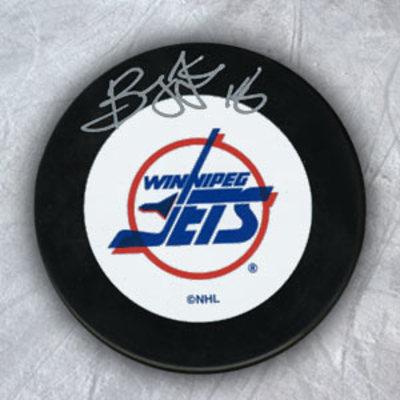Bryan Little Winnipeg Jets SIGNED Vintage Logo Hockey Puck