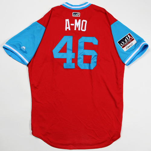 "Photo of Adam ""A-Mo"" Morgan Philadelphia Phillies Game-Used Jersey 2018 Players' Weekend Jersey"