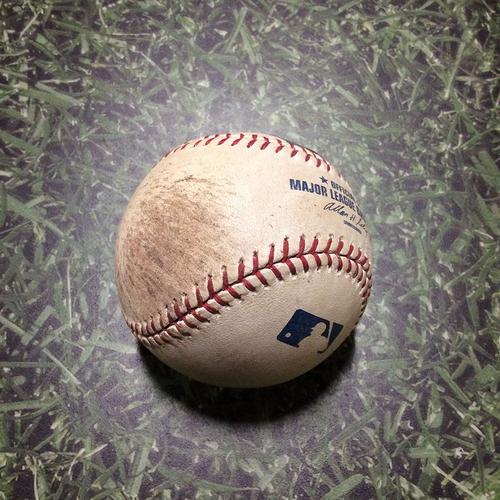 Photo of Game-Used Baseball LAD@MIL 08/17/11 - Nathan Eovaldi - Corey Hart: Foul