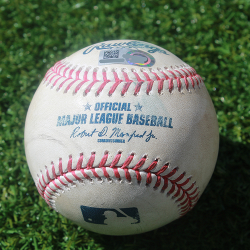 Photo of Game-Used Baseball: Cody Gearrin Pitched Strikeout to Terrance Gore (SEA @ KC - 4/11/19)