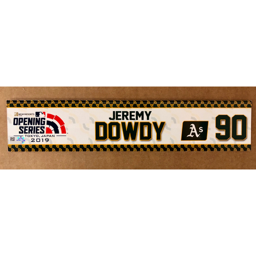 Photo of 2019 Japan Opening Day Series - Game Used Locker Tag - Jeremy Dowdy -  Oakland Athletics